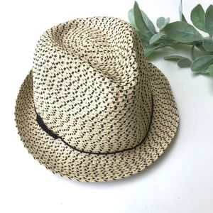 Gap Woven Cream and Black Summer Hat